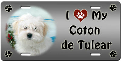 I Love My Coton du Tulear License Plate