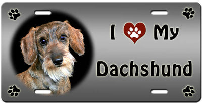 I Love My Dachshund - Wirehaired License Plate