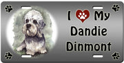 I Love My Dandie Dinmont License Plate