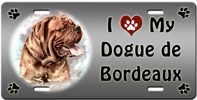 I Love My Dogue De Bordeaux License Plate
