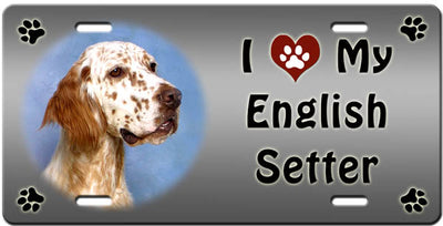 I Love My English Setter License Plate