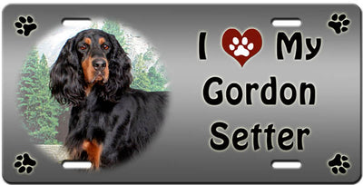 I Love My Gordon Setter License Plate