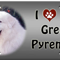 I Love My Great Pyrenees License Plate