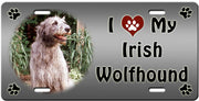 I Love My Irish Wolfhound License Plate