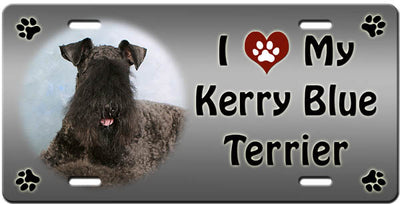 I Love My Kerry Blue Terrier License Plate
