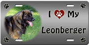 I Love My Leonberger License Plate