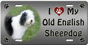 I Love My Old English Sheepdog License Plate