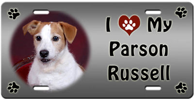 I Love My Parson Russell License Plate