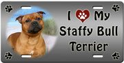I Love My Staffordshire Bull Terrier License Plate