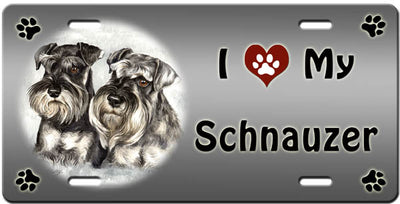 I Love My Standard Schnauzer License Plate