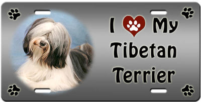 I Love My Tibetan Terrier License Plate