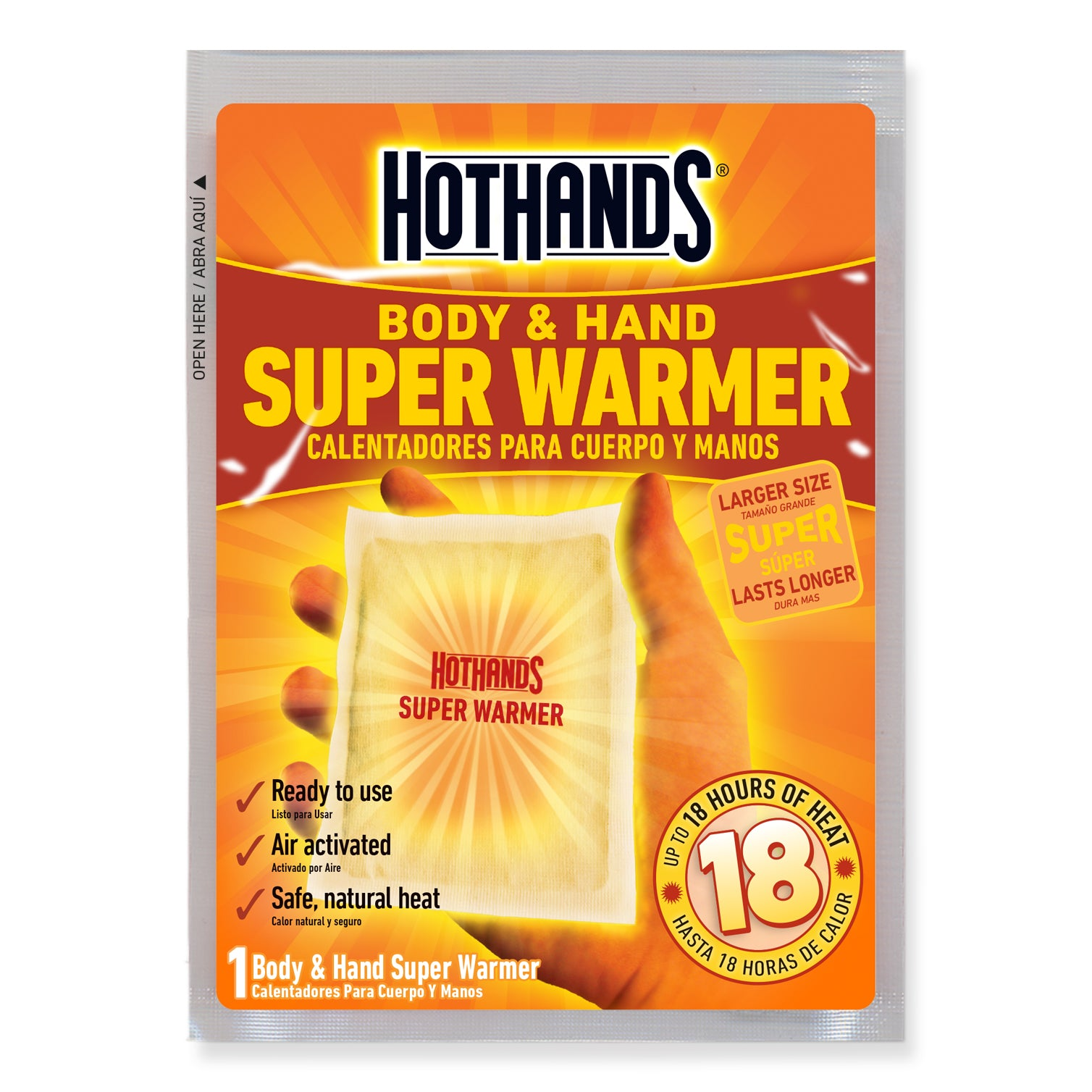 HotHands Body and Hand Super Warmer | HotHands Direct - Hot Hands hand warmers 18 hours, Hot Hands hand and body warmers, extra large hand warmers