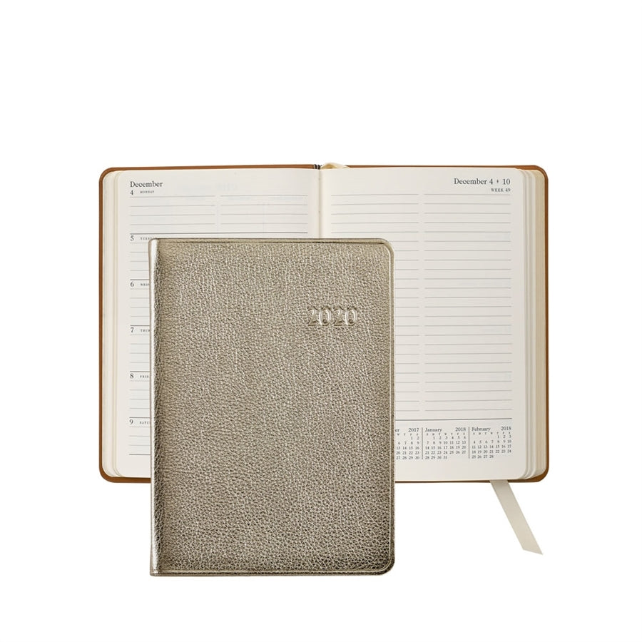 "2021 - 5"" x 7"" Weekly Journal - White Gold"