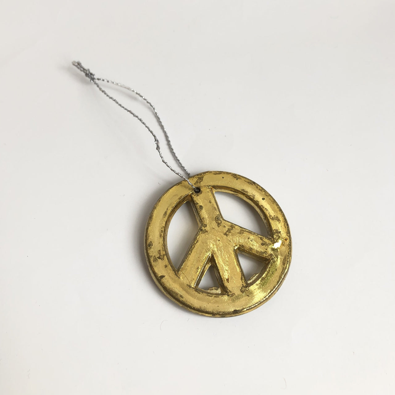 Peace Sign Ornament Gold