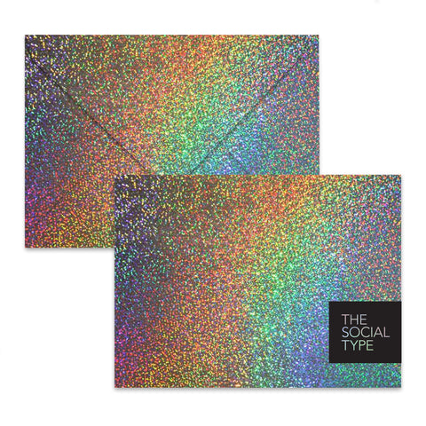 Gold Glitter Hologram Envelope Set