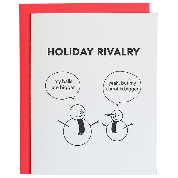 Snowmen Holiday Rivalry Letterpress Card