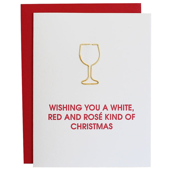 Wishing You a White Wine Paper Clip Letterpress Card