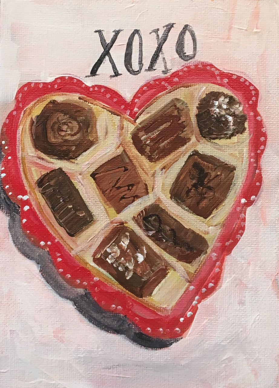 XO Heart Box of Chocolates Card