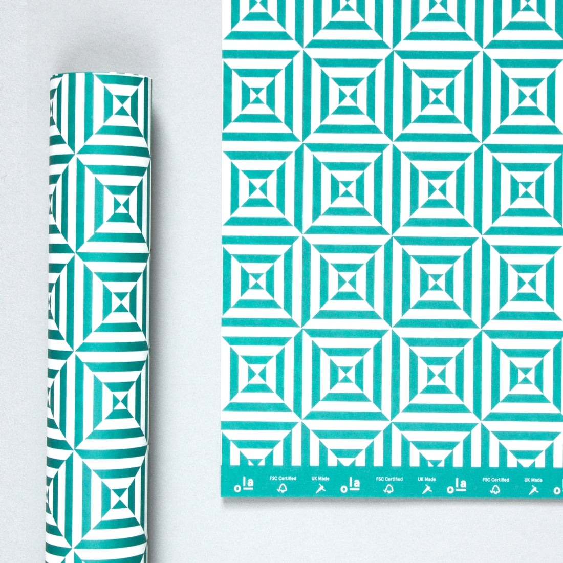 Peacock Green Alma Gift Wrap Sheet