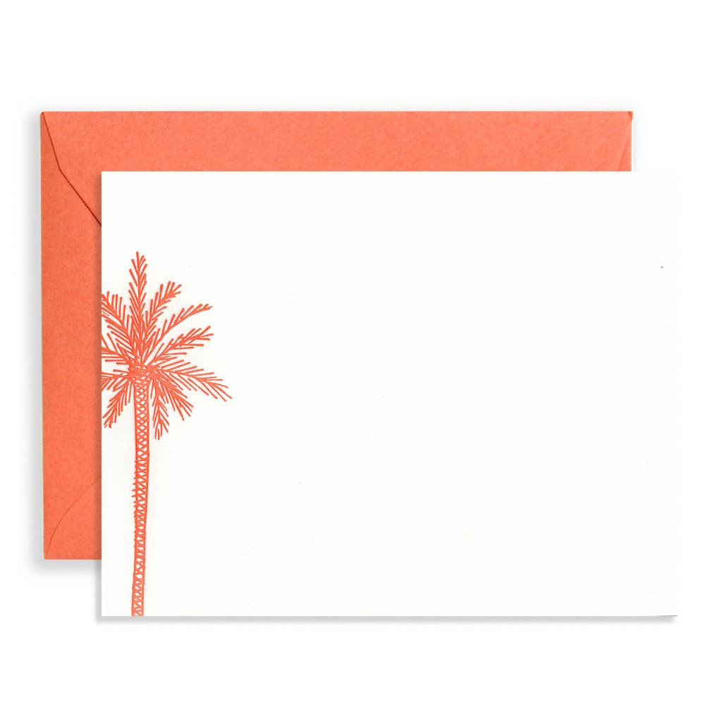 Palm Tree Stationery Set, Coral