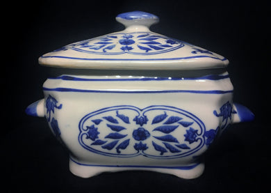 Blue and White Chinese Porcelain Box with Lid Marked - Look in Pop's Attic Antiques - 1