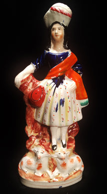 Antique Staffordshire Mary Highland Standing on Sheep Flat Back - Look in Pop's Attic Antiques - 1