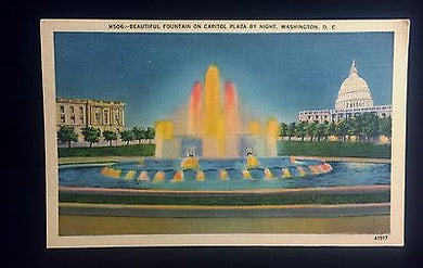 Linen Lithograph Postcard of Beautiful Fountain on Capitol Plaza by Night, Linen Lithograph Postcard of Beautiful Fountain on Capitol Plaza by Night, B.S. Reynolds Co,  Look in Pop's Attic Antiques