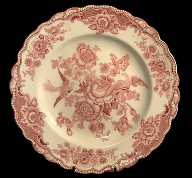 Bristol by Crown Ducal Scalloped Dinner Plate w/ Cream Body, Pink Flowers & Birds