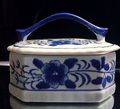Chinese Blue & White Peony Transfer Pattern Handled Porcelain Box - Look in Pop's Attic Antiques - 1