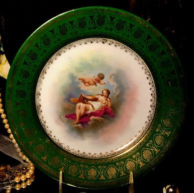Royal Vienna Hand Painted Porcelain Cherub Plate Signed 1880-1890 - Look in Pop's Attic Antiques - 1