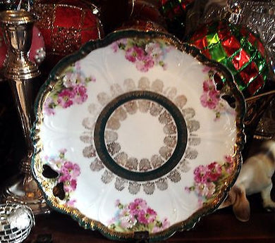 Austrian Hand Painted Scalloped Porcelain Eleanor China Double Handled Platter - Look in Pop's Attic Antiques - 1