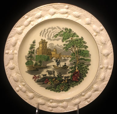 4 W Adams & Sons Italian Green Scenery Embossed Gold Trim Porcelain Plates - Look in Pop's Attic Antiques - 1