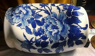 c1900 Rare Blue & White Chinese Transferware Peonies Porcelain Pillow Pinched - Look in Pop's Attic Antiques - 1