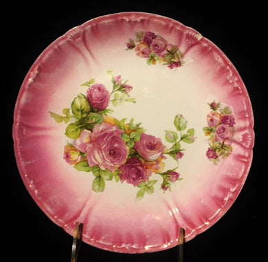 Franz Anton Mehlem for Royal Bonn Rose Scalloped Plate c1920 - Look in Pop's Attic Antiques - 1