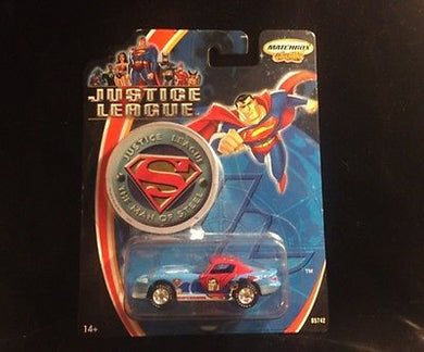 2003 Justice League 1:64 Superman Man of Steel Matchbox Dodge Viper NIB - Look in Pop's Attic Antiques - 1