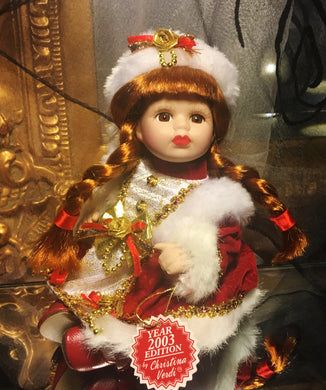 Christina Verdi Porcelain Doll-2003 Limited Edition Christmas Doll - Look in Pop's Attic Antiques - 1