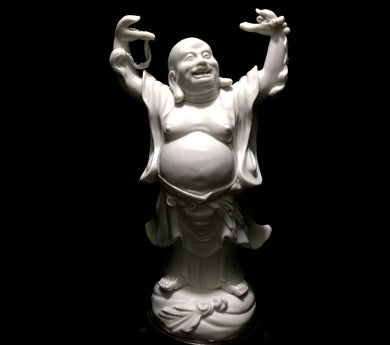 Blanc-de-Chine Chinese Dehua Porcelain Laughing Buddha with Pearls of Wisdom - Look in Pop's Attic Antiques - 1