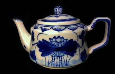 c1900-1950 Vintage Porcelain Chinese Cobalt Blue & White Peony Teapot with Lid - Look in Pop's Attic Antiques - 1