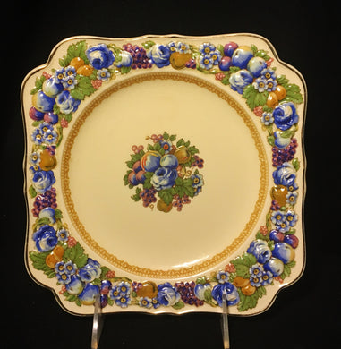 Crown Ducal 1954  Florentine, Multicolor Flowers & Fruit Square Porcelain Plate - Look in Pop's Attic Antiques - 1
