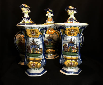 18th Century Assembled Five Piece Dutch Delft Garniture Baluster Vases w/ Traditional Bird Finials Signed - Look in Pop's Attic Antiques - 1