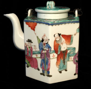 1875-1906-Guangxu-Chinese-6-Sided-Teapot-with-the-8-Immortals-White-Green-amp-Red