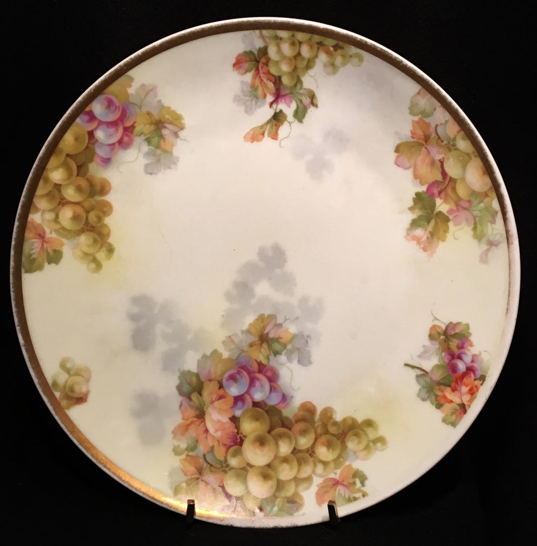 Pfeiffer & Lowenstein Porcelain Green & Purple Hand Painted Grape Plate #4072 - Look in Pop's Attic Antiques - 1