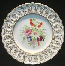 4 c1860 Green Printed Interlaced C & Copeland Mark Dessert Plates w/ Flowers