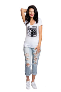 Bamboo Changing The World 1 Heart at a time Tee White - Women
