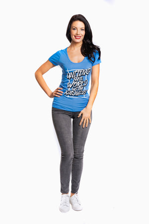 Bamboo Uniting The World With Kindness Tee Blue Women
