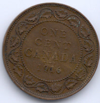 1916 Canadian Large Cent  VG/F