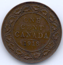 1918 Canadian Large Cent - VG/F
