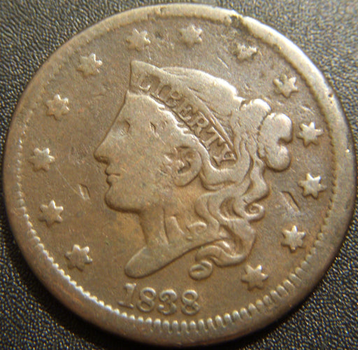 1838 Large Cent - Very Good