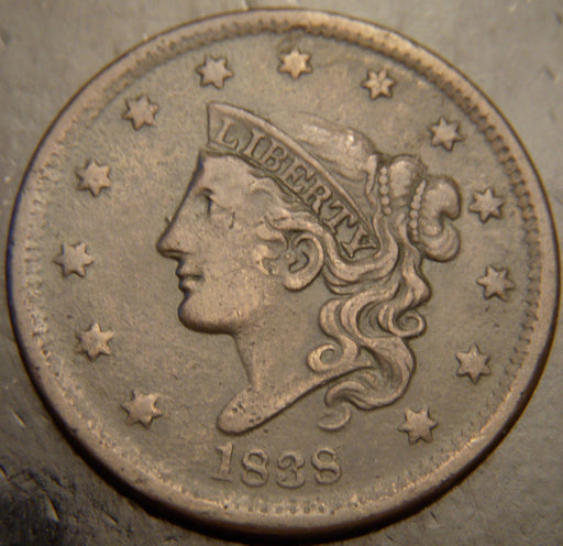 1838 Large Cent - Very Fine