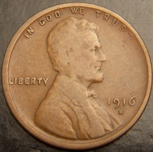 1916-S Lincoln Cent - Good/VG
